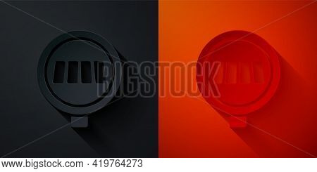 Paper Cut Pedestrian Crosswalk Icon Isolated On Black And Red Background. Traffic Rules And Safe Dri