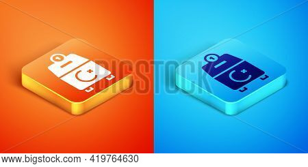 Isometric Donate Or Pay Your Zakat As Muslim Obligatory Icon Isolated On Orange And Blue Background.
