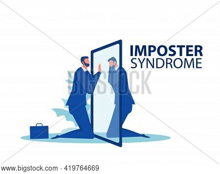 Imposter Syndrome.businessman Looking A Mirror With Fear Shadow Behind,mental Health Problems, Anxie