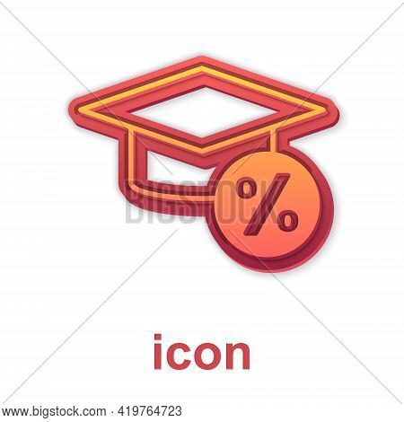 Gold Graduation Cap And Coin Icon Isolated On White Background. Education And Money. Concept Of Scho