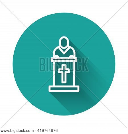 White Line Church Pastor Preaching Icon Isolated With Long Shadow. Green Circle Button. Vector Illus