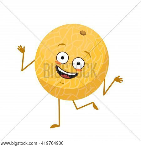 Cute Melon Character Cheerful With Emotions Dancing, Face, Arms And Legs. The Funny, Happy Or Smile