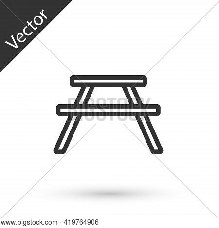 Grey Line Picnic Table With Benches On Either Side Of The Table Icon Isolated On White Background. V