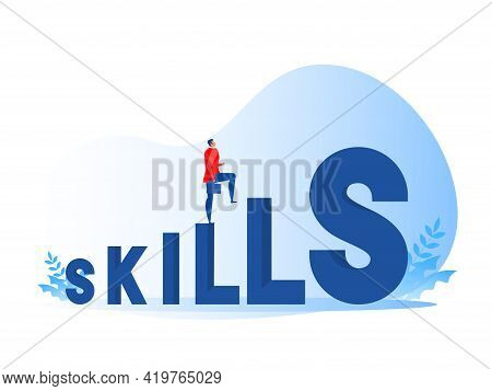 Businessman Walking Up Skill Development Or Knowledge Management. Flat Isolated Vector Illustration.