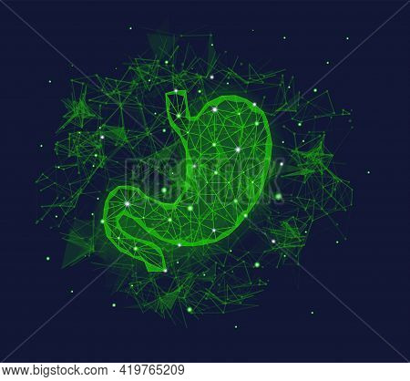 Futuristic Medical Concept With Green Human Stomach Organ And Plexus Elements. Abstract Geometric De