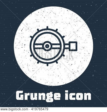 Grunge Line Trap Hunting Icon Isolated On Grey Background. Monochrome Vintage Drawing. Vector