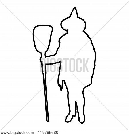 Fairy Wizard Witch Standing With Broom Subject For Halloween Concept Contour Outline Black Color Vec