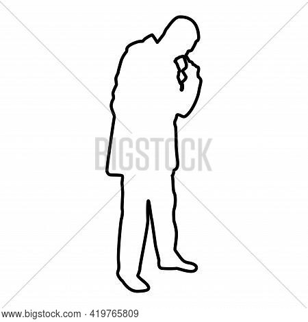 Man Poking In Nose Use Finger Male Cleans Nasal Passages Contour Outline Black Color Vector Illustra