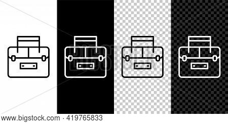 Set Line Case Or Box Container For Wobbler And Gear Fishing Equipment Icon Isolated On Black And Whi