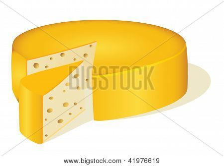 Of A Circle Cut Off A Piece Of Cheese On White