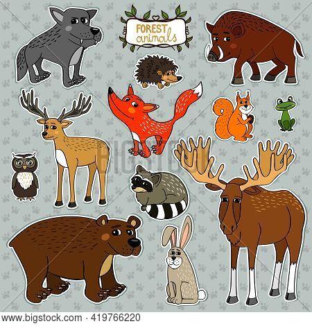 Forest Animals Owl Deer Fox Set Vector Illustration