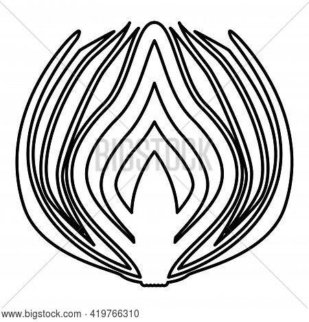 Onion Cut In Half Part Bulbs Chopped Sliced Vegetable Contour Outline Black Color Vector Illustratio