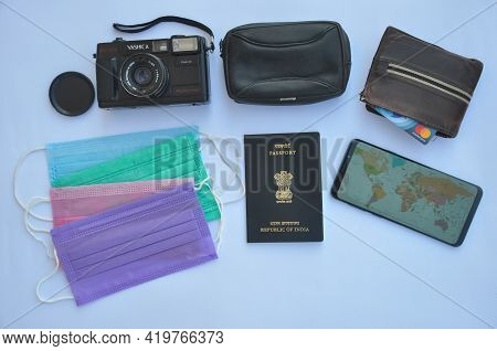 Mandi, Himachal Pradesh, India - 04 24 2021: High Angle View Of Important Accessories Of Travel Isol