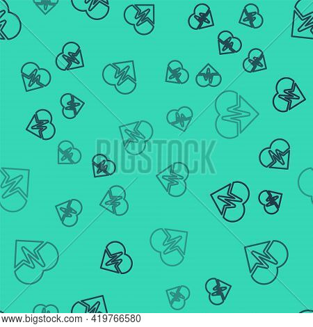 Black Line Health Insurance Icon Isolated Seamless Pattern On Green Background. Patient Protection.