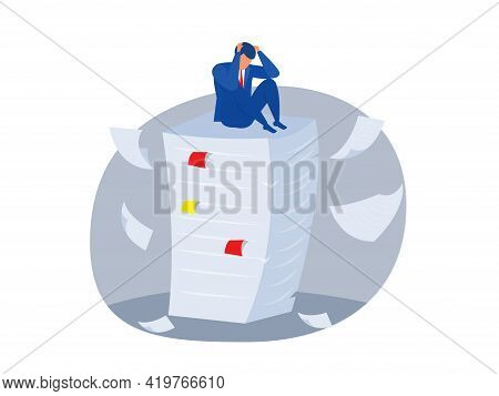 Man Standing For Her Present Profile Businessman Stress,employee On Top Of Large Stack Of Papers. Bu