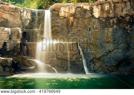 The View Of The Waterfall At Koh Kood During The Day When It Looks So Wet. Koh Kood Island, Trat, Th
