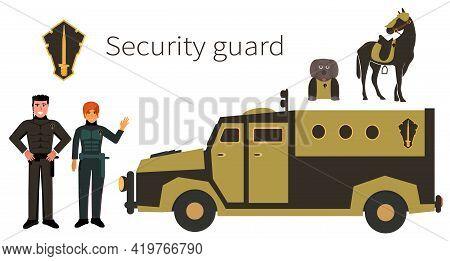 Police. Security Guard. Flat.  Cartoon.young Man And Woman In Black Uniform. Black Van. Armored Car.