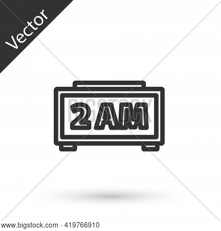 Grey Line Digital Alarm Clock Icon Isolated On White Background. Electronic Watch Alarm Clock. Time