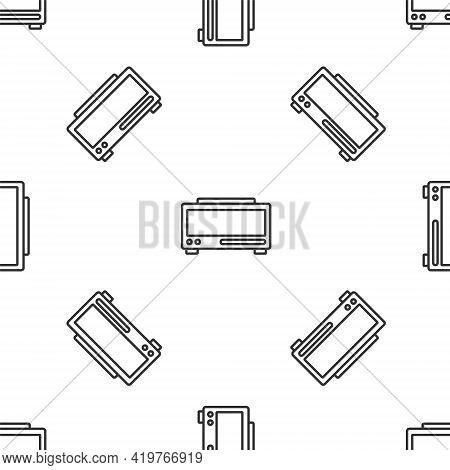 Grey Line Digital Alarm Clock Icon Isolated Seamless Pattern On White Background. Electronic Watch A