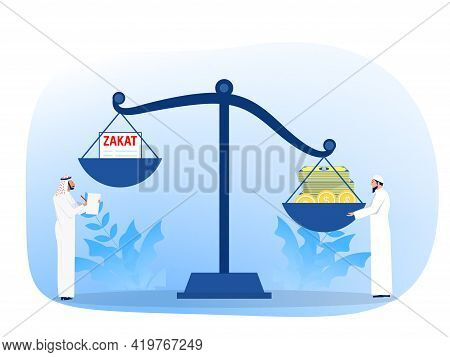 Muslim Pay Zakat Concept. Muslim Law And Regulations Financial Advisor Justice.  Flat Cartoon Vector
