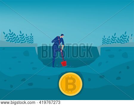People Digging And Discovering Bitcoin Gold Coin. Trade Market Concept For Bitcoin Mining And Genera
