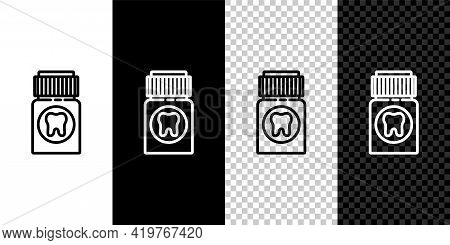 Set Line Toothache Painkiller Tablet Icon Isolated On Black And White Background. Tooth Care Medicin
