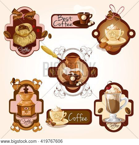 Coffee Colored Decorative Labels Set With Turk Beans Cinnamon Isolated Vector Illustration