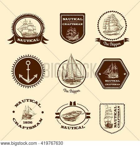 Nautical Craftsman Skipper Emblem Set With Sketch Sailing Clipper Ships And Yachts Vector Illustrati