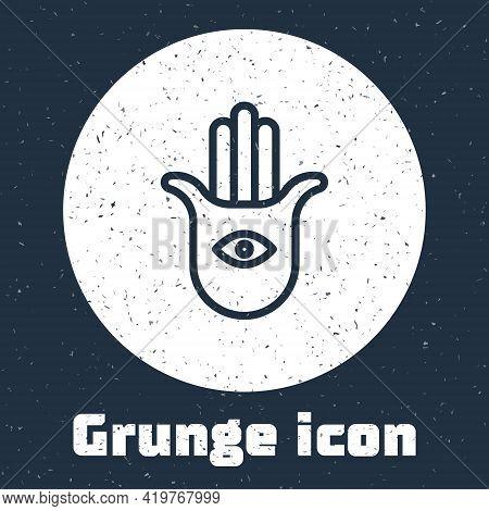 Grunge Line Hamsa Hand Icon Isolated On Grey Background. Hand Of Fatima - Amulet, Symbol Of Protecti