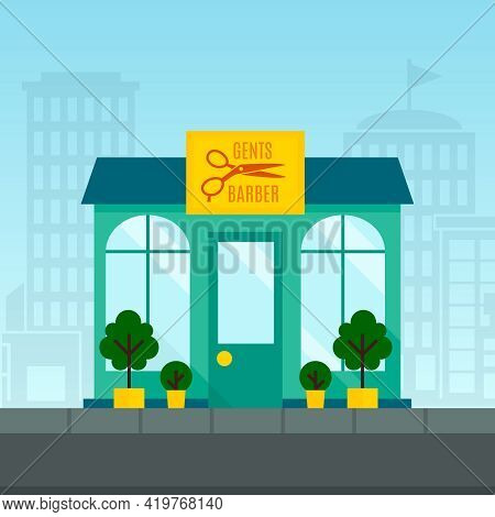 Barbershop Haircut Salon Exterior Front Window With Town On Background  Flat Vector Illustration