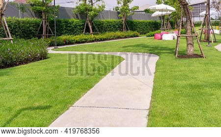 Garden Of Gray Curve Pattern Walkway, Sand Washed Finishing On Concrete Paving, Smooth Green Grass L
