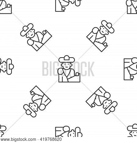 Grey Line Spain Bullfight, Matador Icon Isolated Seamless Pattern On White Background. Traditional S