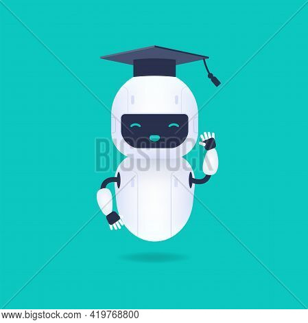 White Friendly Robot Character. Graduated Cute And Smile Ai Robot Wearing Graduation Cap. Machine Le