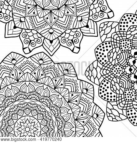 Coloring Book Pages. Mandala Background. Indian Antistress Medallion. Abstract Islamic Flower, Arabi