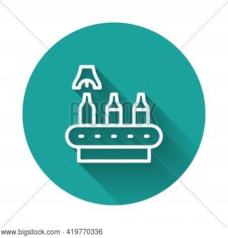 White Line Brewery Factory Production Line Pouring Alcoholic Drink In Glass Bottles Icon Isolated Wi