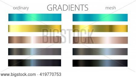 Blue, Golden And Black Gradients. Set Or Palette.  Mesh And Regular Gradients. Cool Shades. For Desi