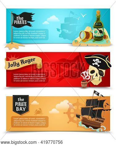 Pirates Flat Banners Set With Ship Jolly Roger And  Triangle Black Hat Symbols Abstract Isolated Vec