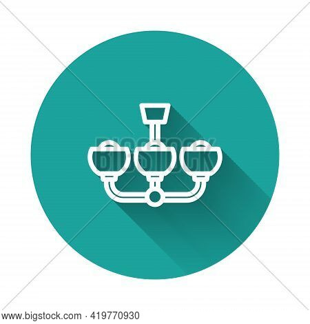 White Line Chandelier Icon Isolated With Long Shadow Background. Green Circle Button. Vector