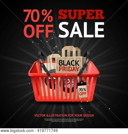 Black Friday Sale Advertisement With Title And Purchases In Red Market Basket On Black Background Ve