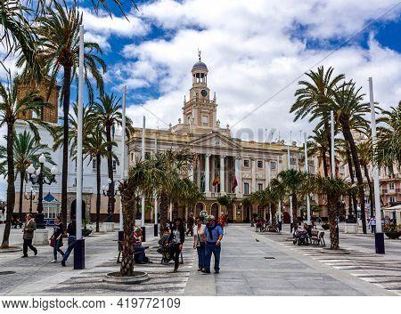 Cadiz, Andalusia, Spain - May 17, 2013: Cadiz City Hall On Plaza San Juan De Dios.