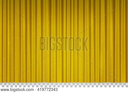 Golden Velvet Curtain In Theater Or Cinema. Vector Realistic Closed Yellow Stage Curtains With Shimm