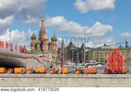 May 7, 2021, Moscow, Russia. View Of Red Square And St. Basils Cathedral At The Victory Parade Rehea
