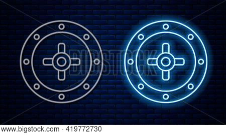Glowing Neon Line Safe Icon Isolated On Brick Wall Background. The Door Safe A Bank Vault With A Com
