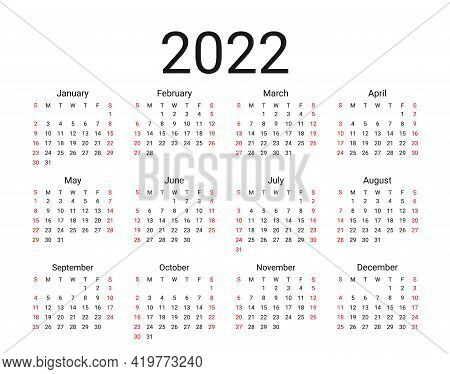 2022 Calendar. Week Starts Sunday Yearly Calender Organizer With 12 Months. Stationery Year Template