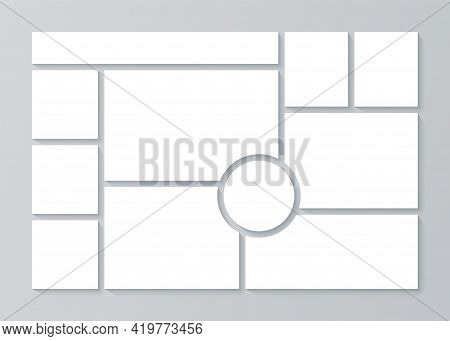 Moodboard Template. Collage Grid. Vector. Mood Board. Mosaic Background. Frame Banner With Photo Pic