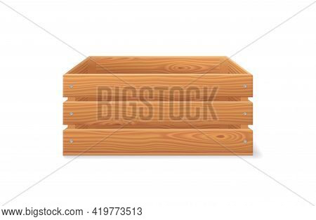 Wooden Crate, Wood Garden Box For Fruits And Vegetables. 3d Basket From Brown Timber For Harvest In