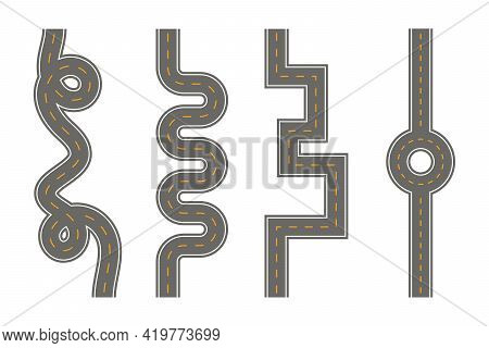Vertical Seamless Roads On A White Background, Vector Eps10 Illustration.
