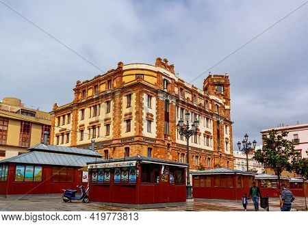 Cadiz, Andalusia, Spain - May 17, 2013: Post Office On Market Square (plaza Libertad).