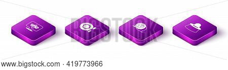 Set Isometric Bee, Hanging Sign With Honeycomb, Honeycomb And Beekeeper Protect Hat Icon. Vector