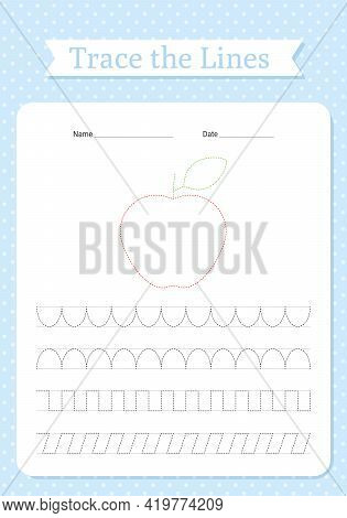 Trace Lines Worksheet. Hand Tracing For Kids. Writing Practice For Children Workbook. Learning Book
